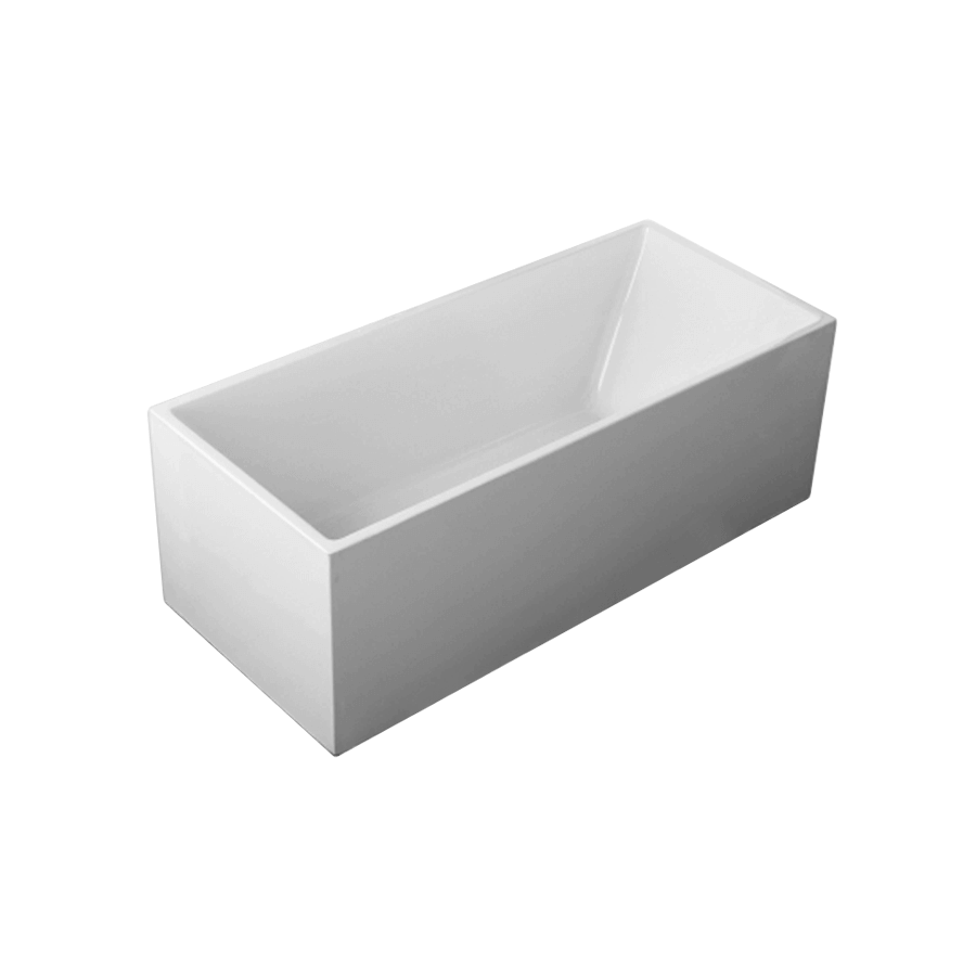 Square corner white free standing 1700mm bath line drawing