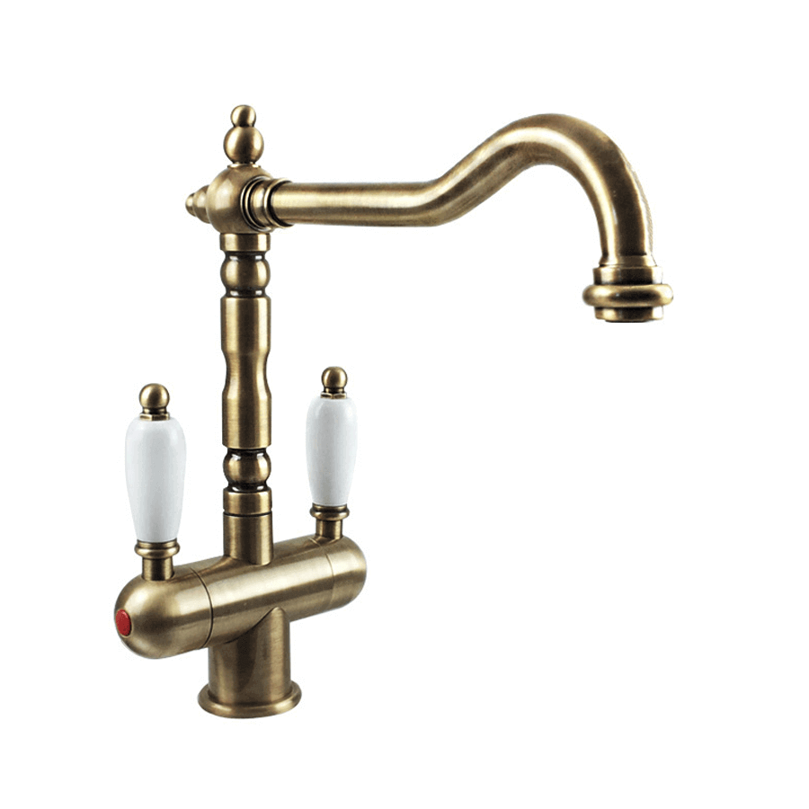Traditional brass twin ceramic handle lever sink mixer