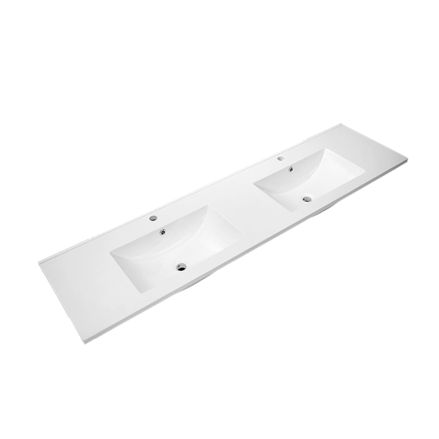 white polymarble square double bowl vanity top 1800mm