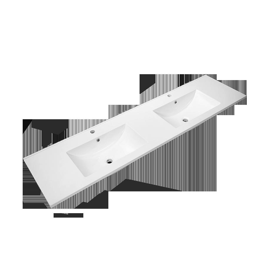 white polymarble square single bowl vanity top 1800mm