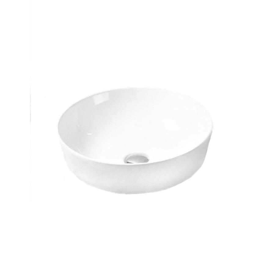 white ceramic round above counter bathroom basin