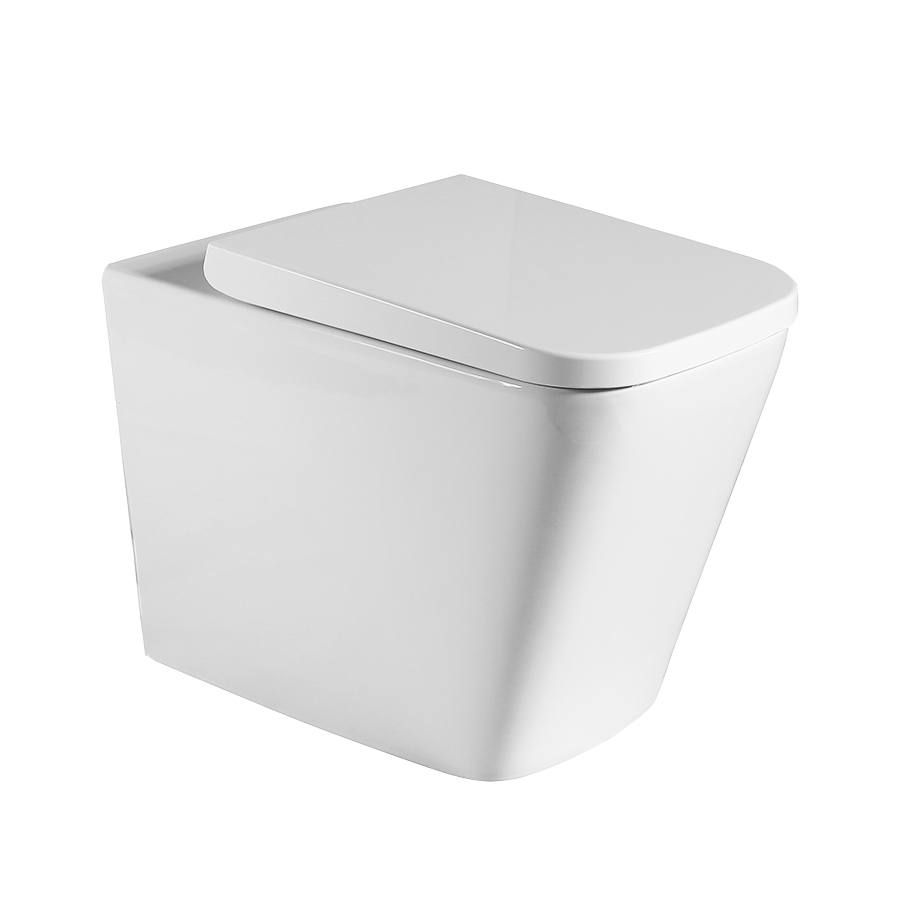 White back to wall ceramic toilet pan with hard plastic seat