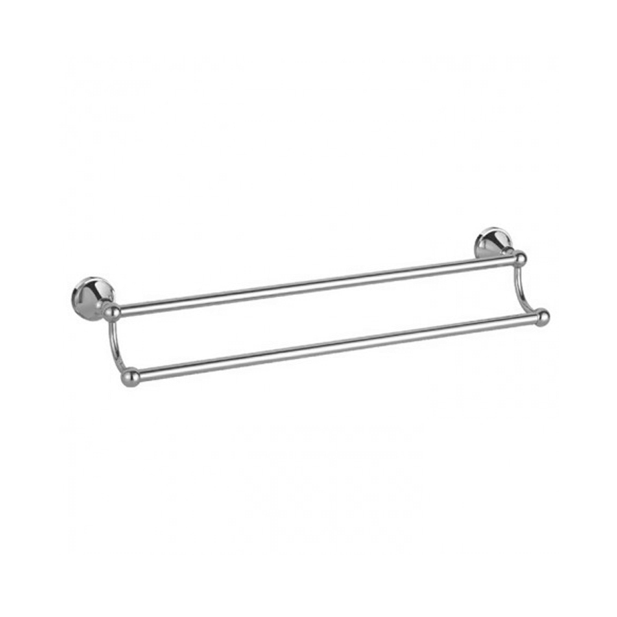 Classic round chrome double towel holder rail