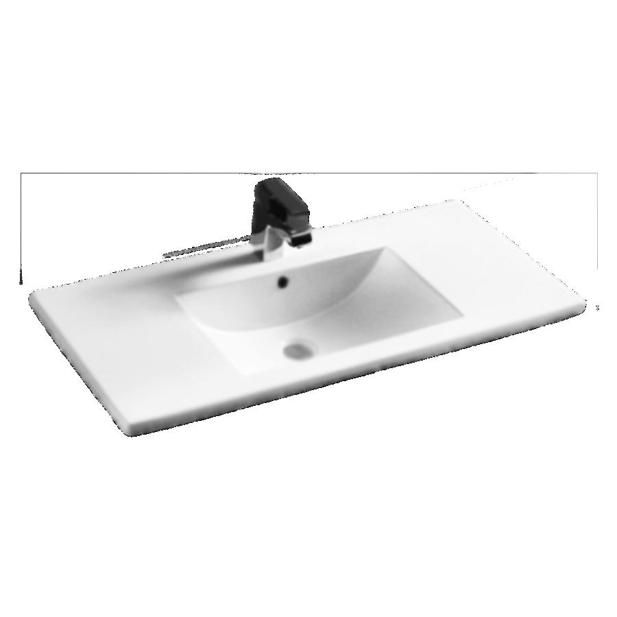 white polymarble square single bowl vanity top 900mm