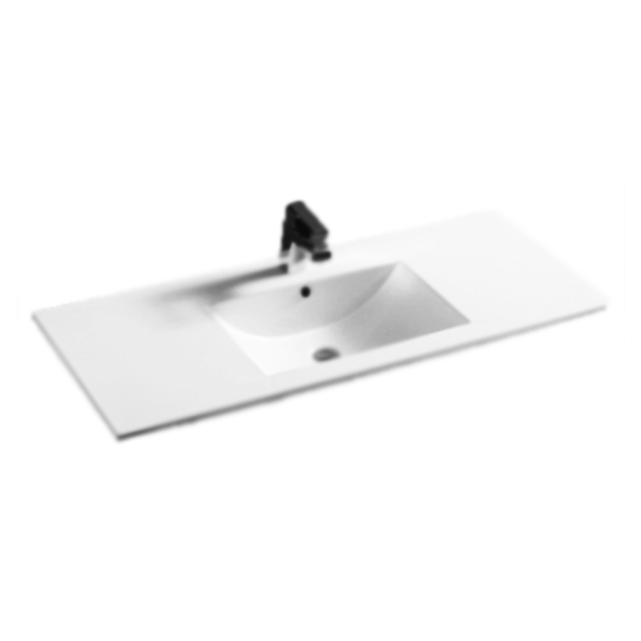 Square bowl white ceramic 1200mm vanity top