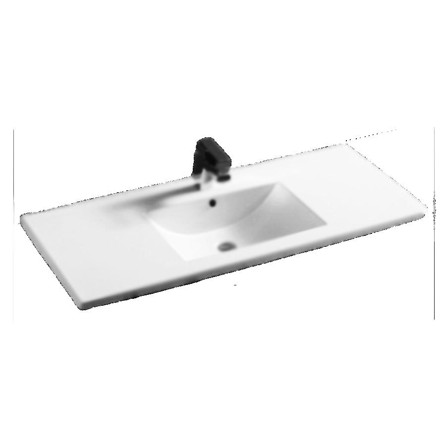 white polymarble square single bowl vanity top 1200mm