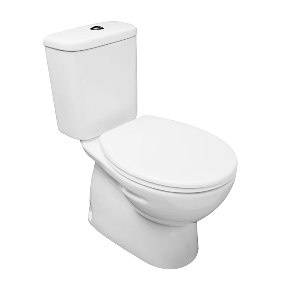 White close coupled ceramic toilet with hard plastic seat and chrome flush buttons